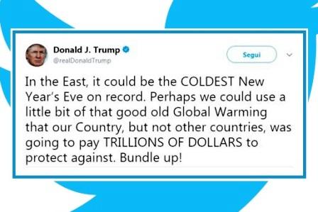 Trump confonde il meteo con il clima e ironizza sul riscaldamento globale